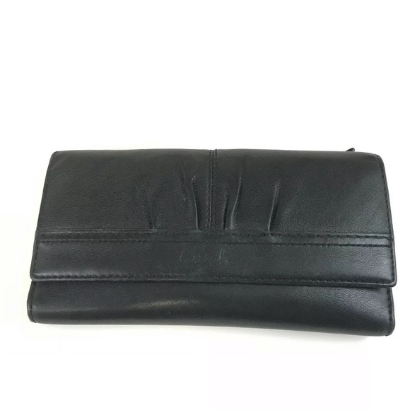 Coach Solid Black Leather Trifold Wallet Button